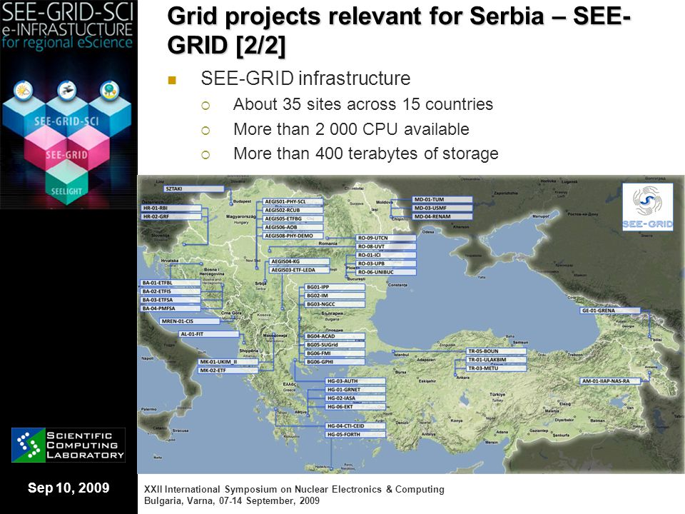 Sep 10, 2009 Grid projects relevant for Serbia – SEE- GRID [2/2] SEE-GRID infrastructure  About 35 sites across 15 countries  More than 2 000 CPU av