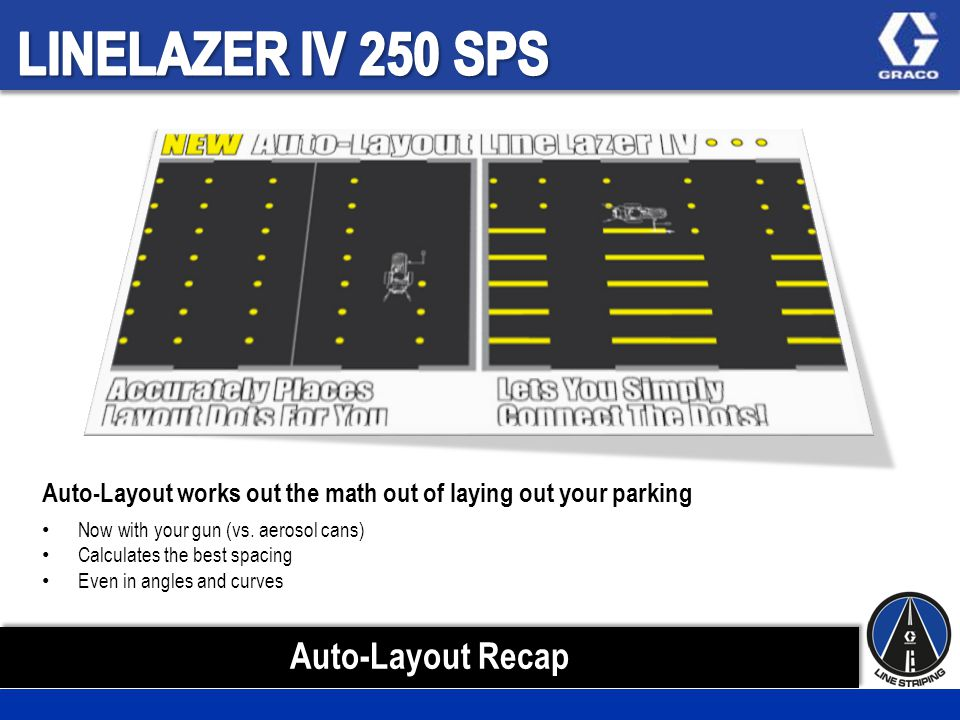 Auto-Layout works out the math out of laying out your parking Now with your gun (vs.