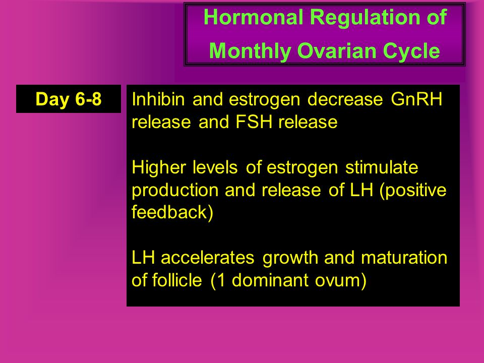 Hormonal Regulation of Monthly Ovarian Cycle Day 6-8Inhibin and estrogen decrease GnRH release and FSH release Higher levels of estrogen stimulate pro