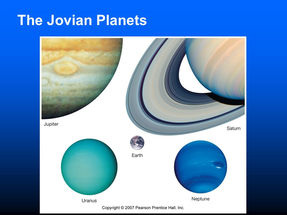 Space Craft Exploration of Jovian Planets Voyager 1 and 2 left Earth in 1977 and reached Jupiter in March and July of 1979 Used Jupiter's strong gravity to send them on to Saturn - gravity assist Voyager 2 used Saturn's gravity to propel it to Uranus and then on to Neptune Studied planetary magnetic fields and analyzed multi-wavelength radiation Both are now headed out into interstellar space Galileo - launched in 1989 and reached Jupiter in December 1995 Two components: atmospheric probe and orbiter Probe descended into Jupiter's atmosphere and orbiter went through moon system Cassini mission to Saturn arrived June 30, 2004 orbiter continues to orbit Saturn and its moons Huygens probe launched from the orbiter January 14, 2005 to study Saturn's moon Titan.