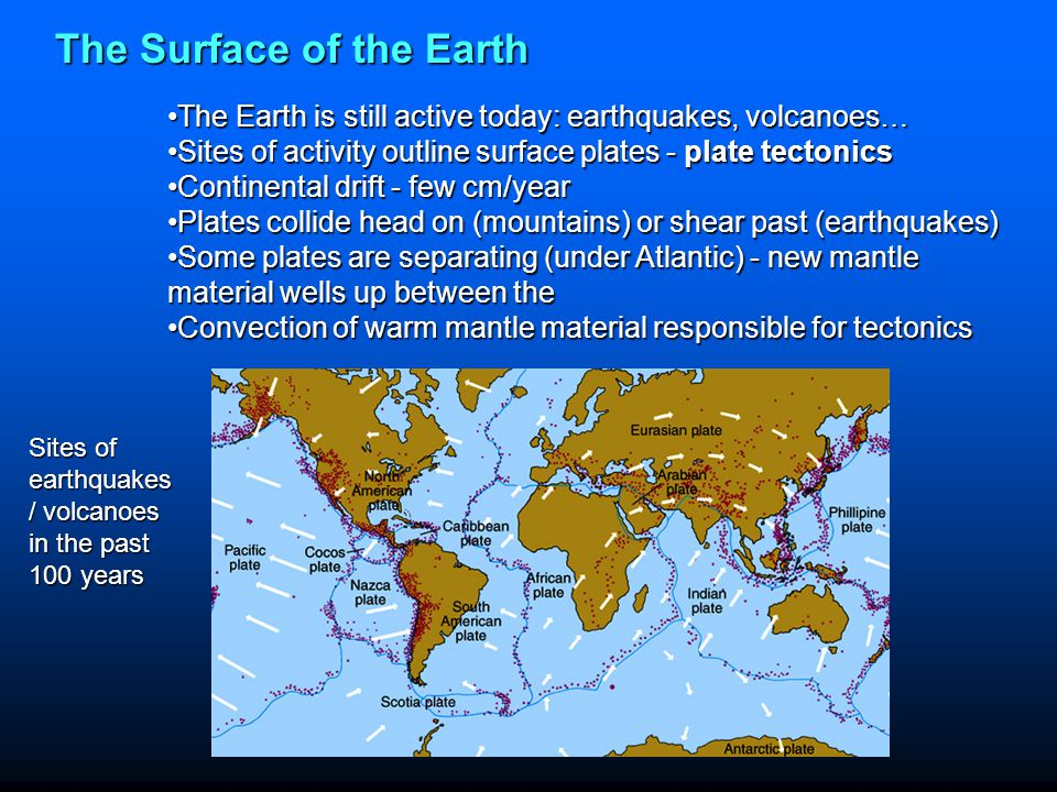 The Surface of the Earth The Earth is still active today: earthquakes, volcanoes…The Earth is still active today: earthquakes, volcanoes… Sites of act