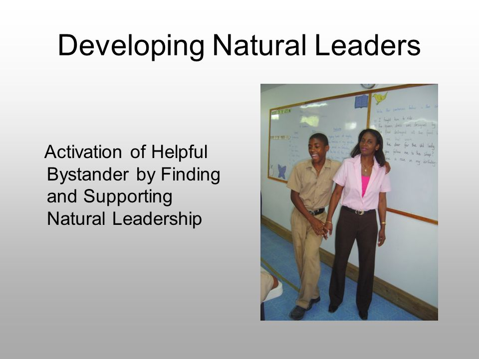 Developing Natural Leaders Activation of Helpful Bystander by Finding and Supporting Natural Leadership