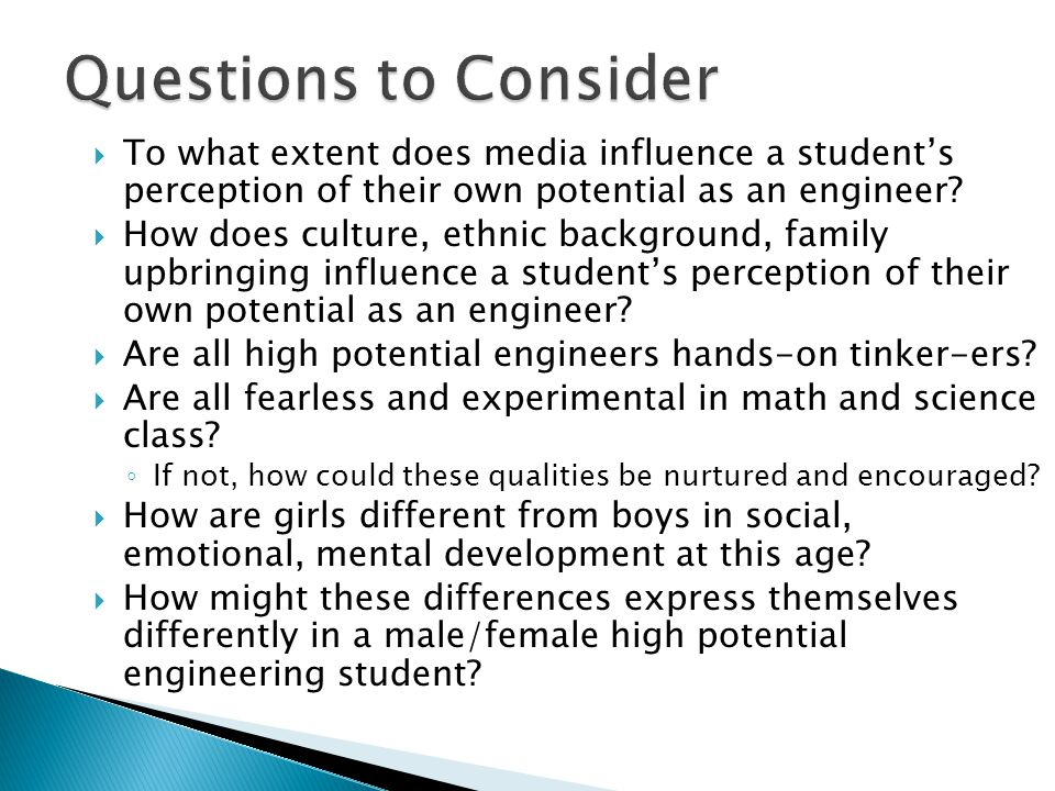  To what extent does media influence a student's perception of their own potential as an engineer.