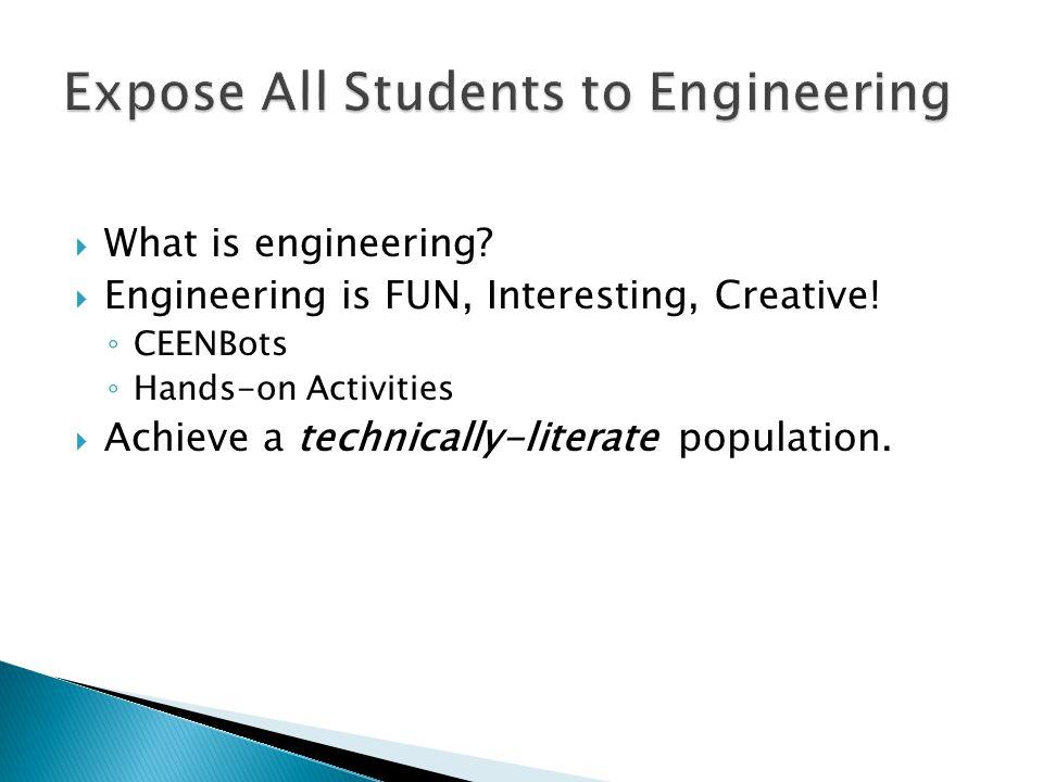  What is engineering.  Engineering is FUN, Interesting, Creative.