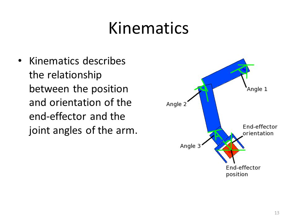 Kinematics Kinematics describes the relationship between the position and orientation of the end-effector and the joint angles of the arm.