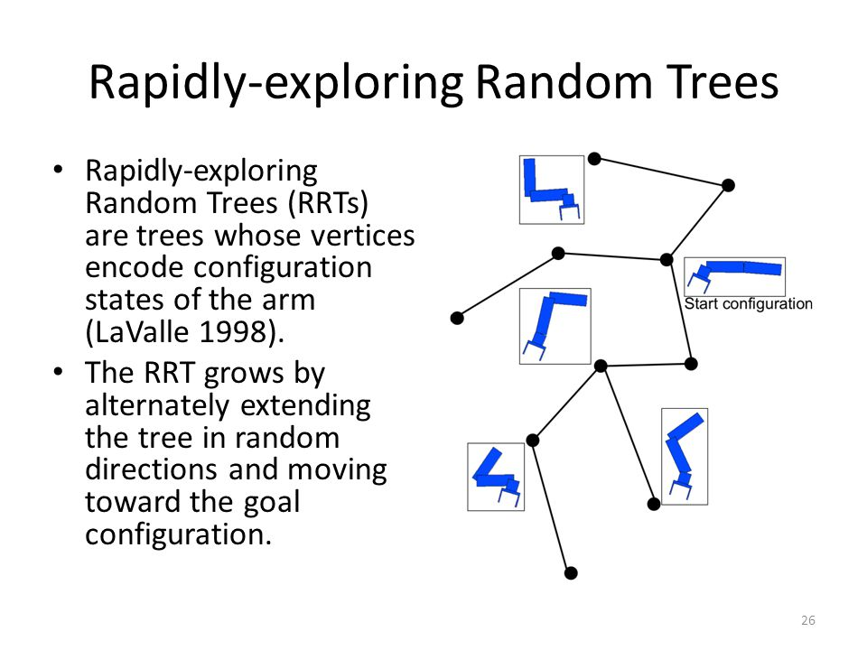 Rapidly-exploring Random Trees Rapidly-exploring Random Trees (RRTs) are trees whose vertices encode configuration states of the arm (LaValle 1998).