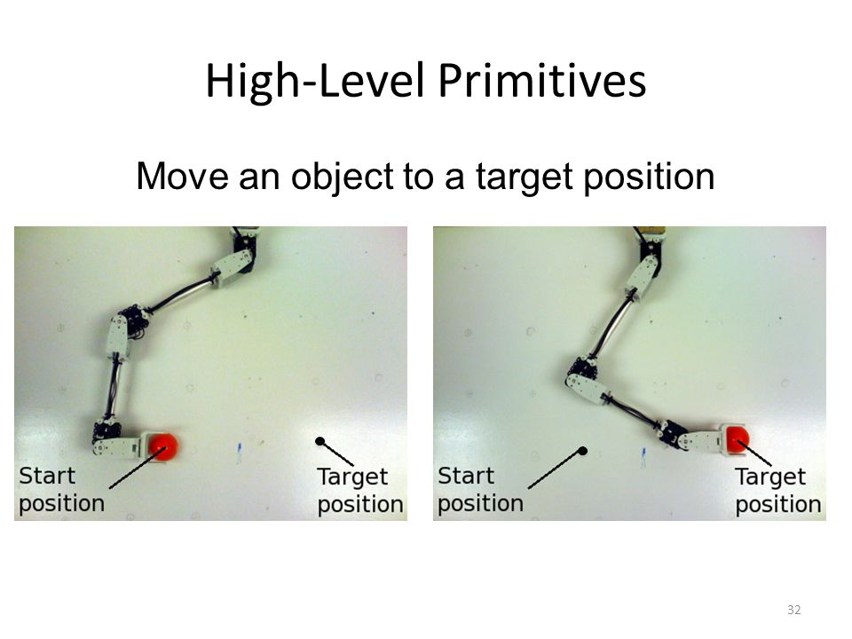 High-Level Primitives 32 Move an object to a target position