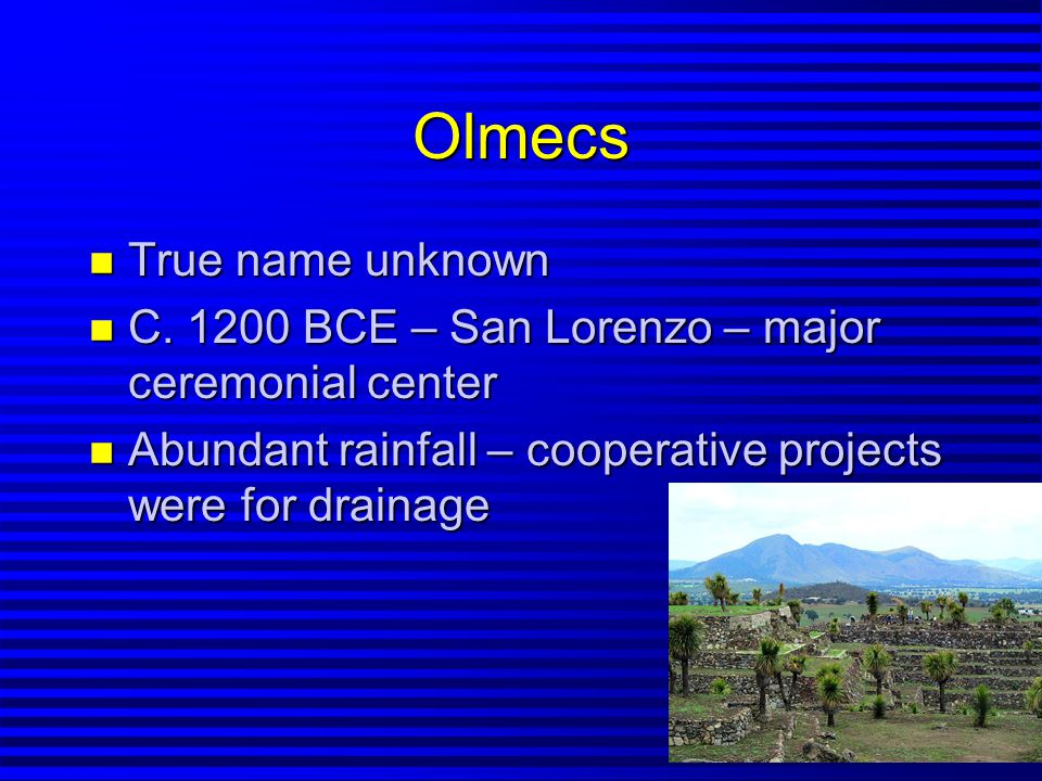 Olmec Society n Likely autocratic n Commoners – paid taxes in the form of crops and labor n Co-operative projects – architecture & decoration as well as agriculture n Giant Stone Heads – large stone sculptures n Huge pyramids (La Venta)