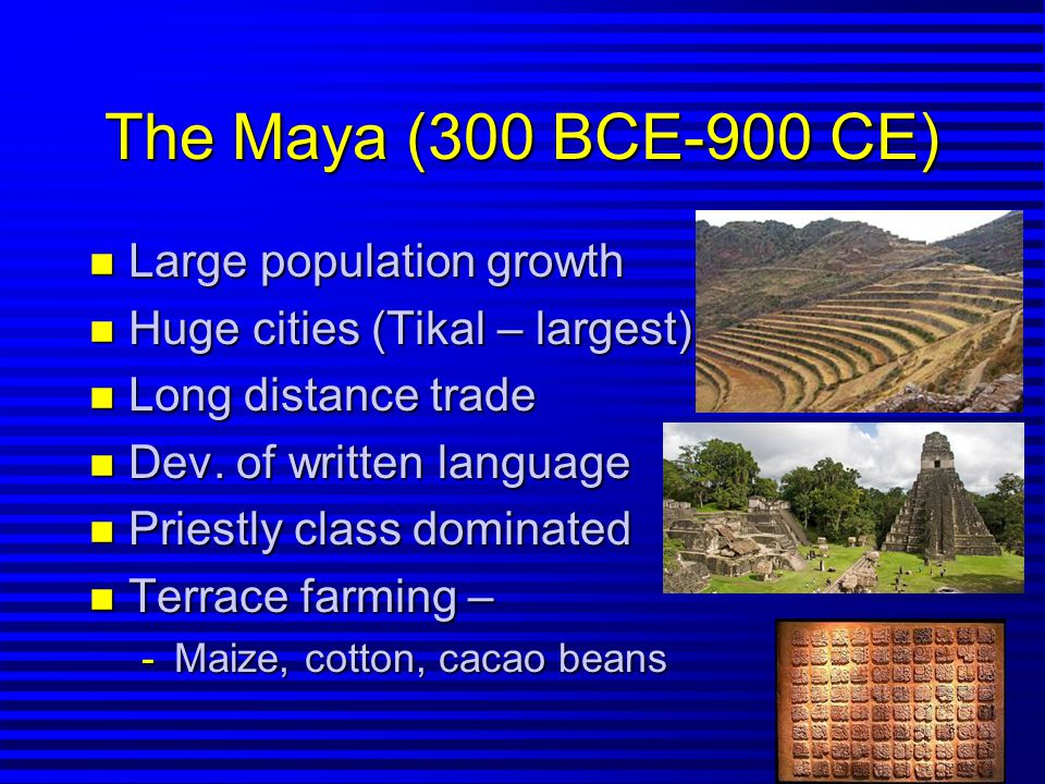 Mayan Warfare n Chronic – mostly with other Mayans n More important to capture than kill n Brief imperial period – 800-1000's CE Chichen Itza gained control over other cities n By 800 CE population decline, began to abandon cities