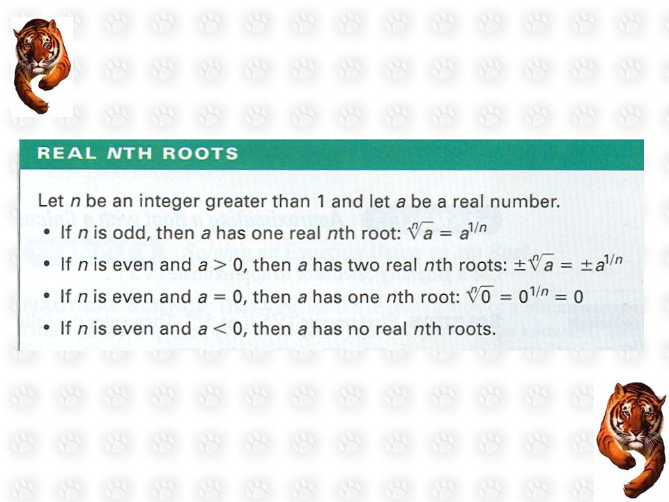 Ex.1 Finding nth Roots Find the indicated real nth root(s) of a.