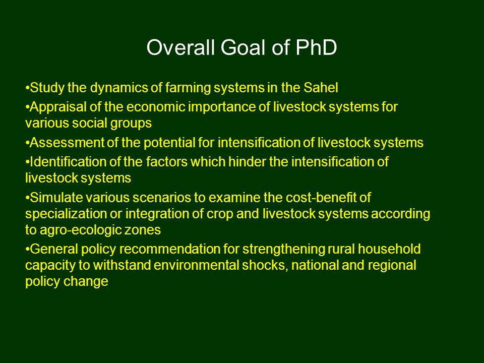 Research has shown… Modeling farming systems As future research, it is suggested that next generation modeling activities include a more general set of land clearing activities, such as over-grazing marginal lands and deforestation associated with firewood.