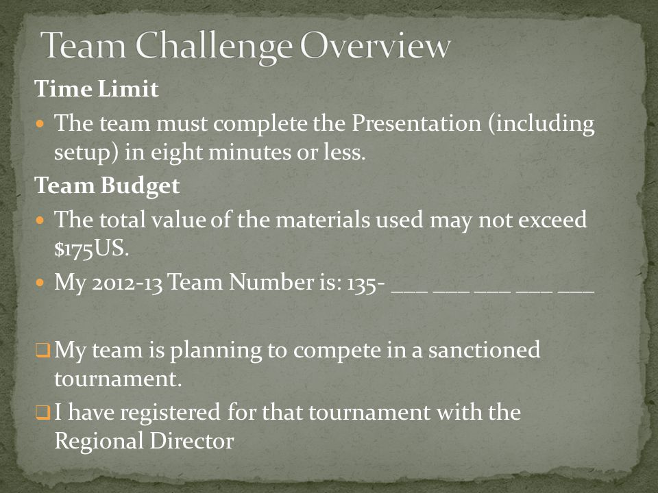 Time Limit The team must complete the Presentation (including setup) in eight minutes or less.