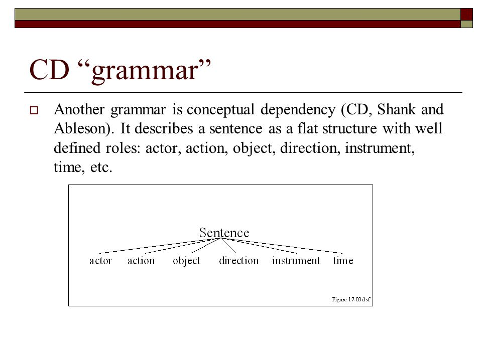"CD ""grammar""  Another grammar is conceptual dependency (CD, Shank and Ableson). It describes a sentence as a flat structure with well defined roles:"