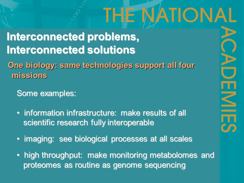 One biology: same technologies support all four missions One biology: same technologies support all four missions Interconnected problems, Interconnec