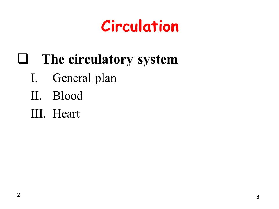 2 Circulation  The circulatory system I.General plan II.Blood III.Heart 3