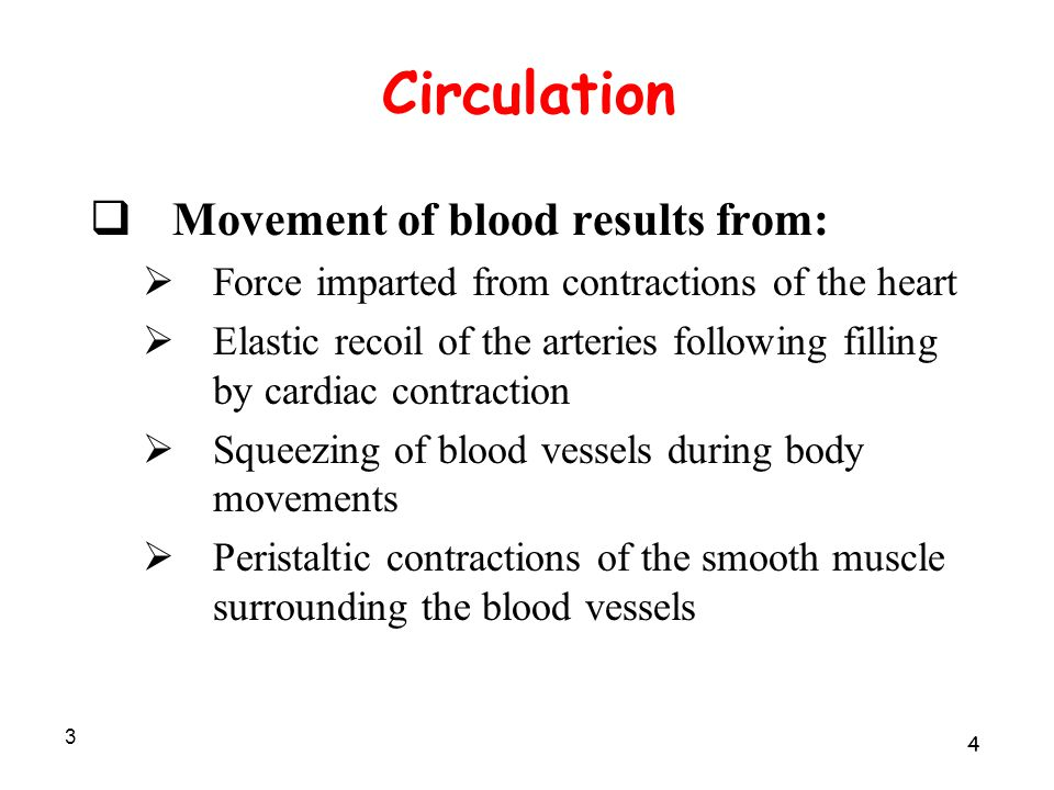 3 Circulation  Movement of blood results from:  Force imparted from contractions of the heart  Elastic recoil of the arteries following filling by cardiac contraction  Squeezing of blood vessels during body movements  Peristaltic contractions of the smooth muscle surrounding the blood vessels 4