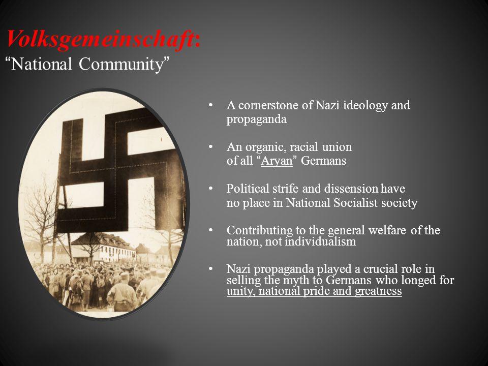 "Volksgemeinschaft: ""National Community"" A cornerstone of Nazi ideology and propaganda An organic, racial union of all ""Aryan"" Germans Political strife"