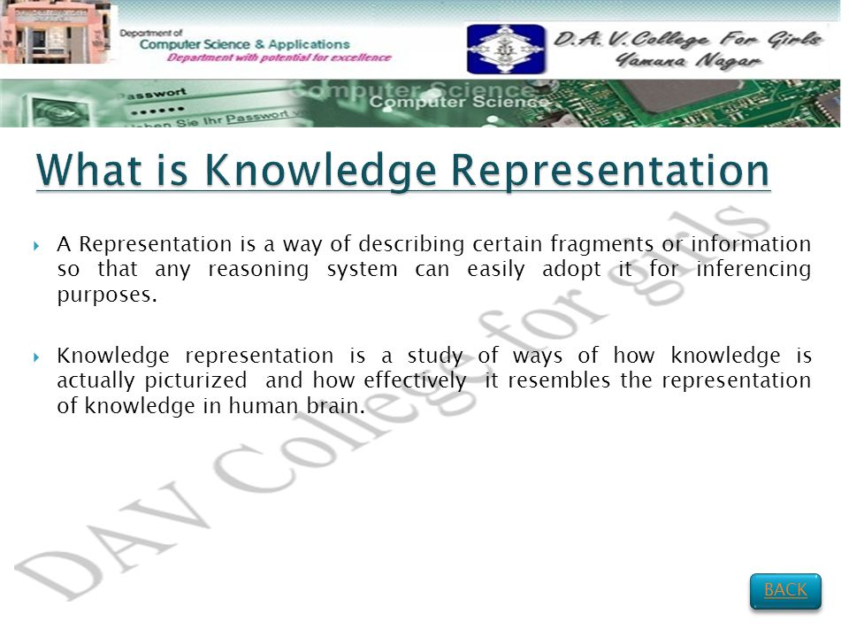  A Representation is a way of describing certain fragments or information so that any reasoning system can easily adopt it for inferencing purposes.