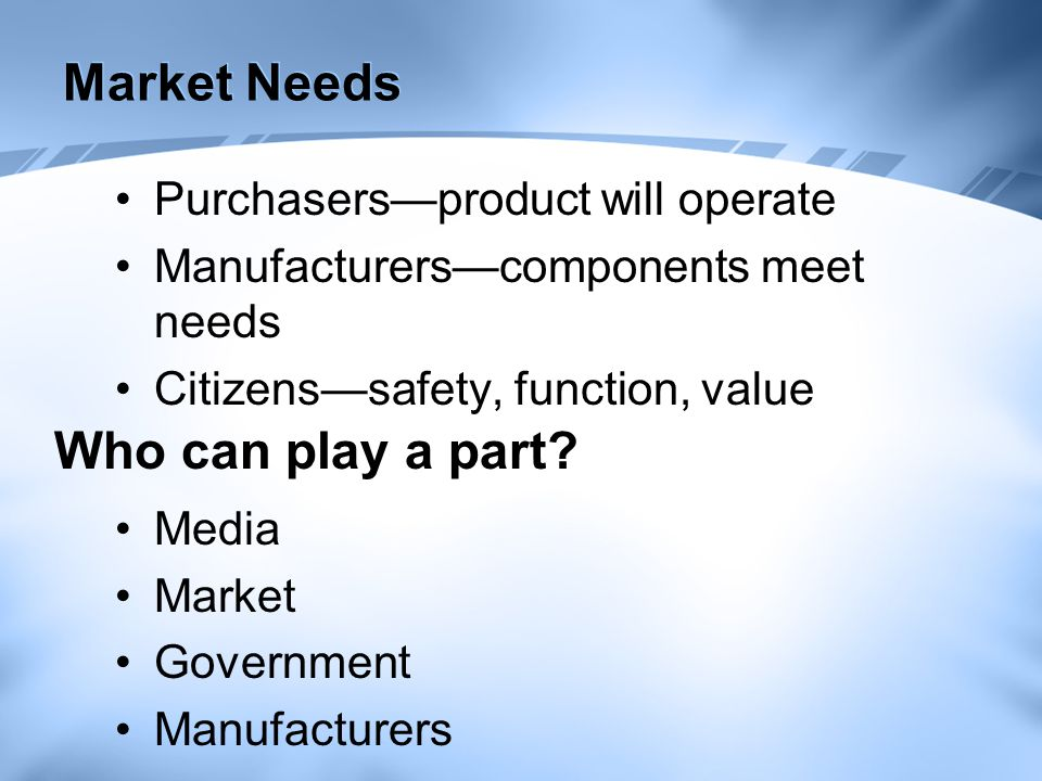 Market Needs Purchasers—product will operate Manufacturers—components meet needs Citizens—safety, function, value Who can play a part.