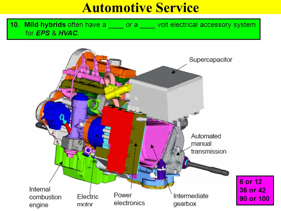 10. Mild hybrids often have a ____ or a ____ volt electrical accessory system for EPS & HVAC. 6 or 12 36 or 42 90 or 100