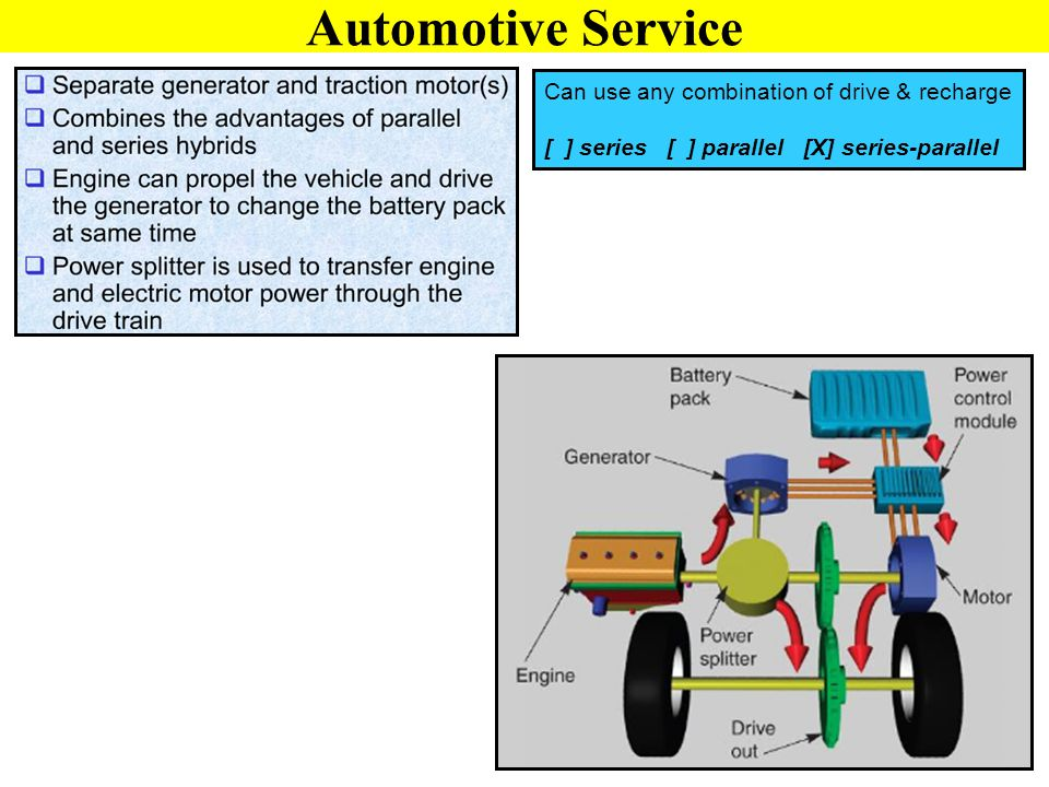 Automotive Service Can use any combination of drive & recharge [ ] series [ ] parallel [X] series-parallel