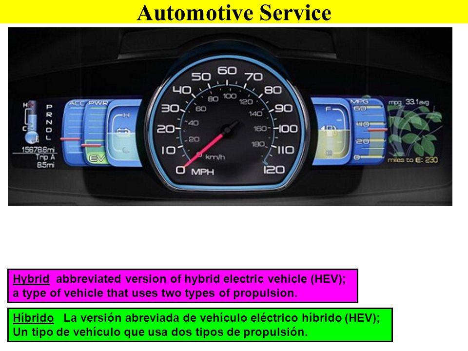 Híbrido La versión abreviada de vehículo eléctrico híbrido (HEV); Un tipo de vehículo que usa dos tipos de propulsión. Hybrid abbreviated version of h