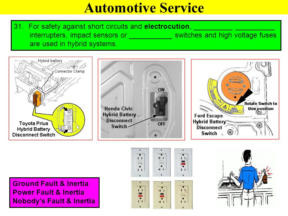 Automotive Service 31. For safety against short circuits and electrocution, __________ __________ interrupters, impact sensors or ___________ switches