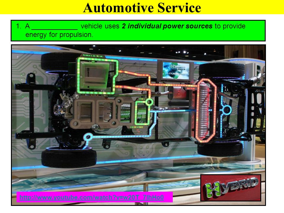 1. A ____________ vehicle uses 2 individual power sources to provide energy for propulsion. http://www.youtube.com/watch?v=w20T_7IhHo0