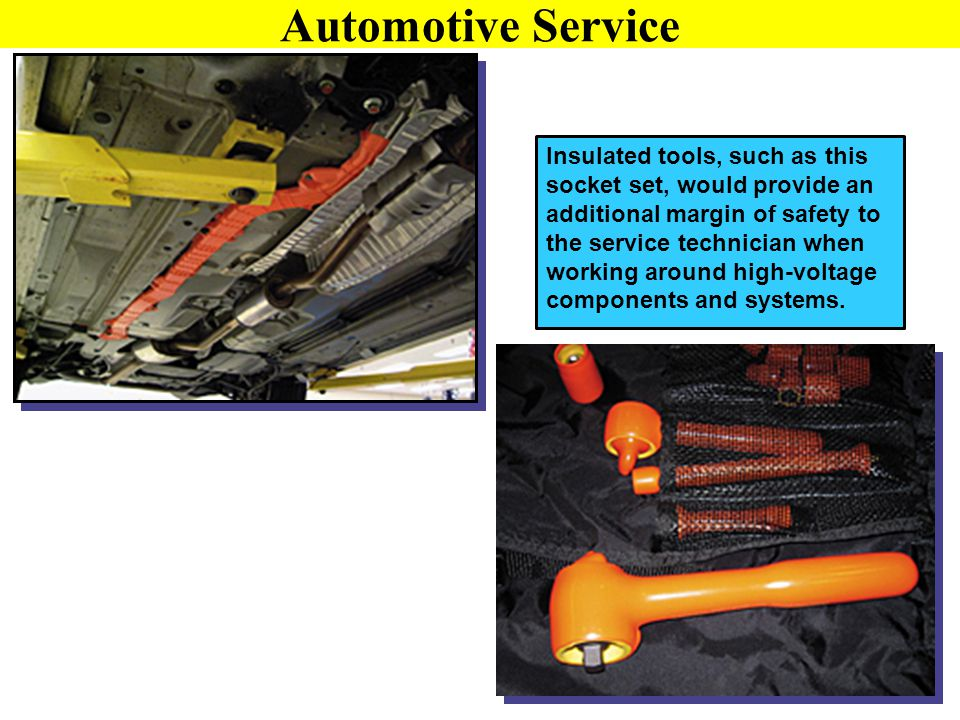 Insulated tools, such as this socket set, would provide an additional margin of safety to the service technician when working around high-voltage comp