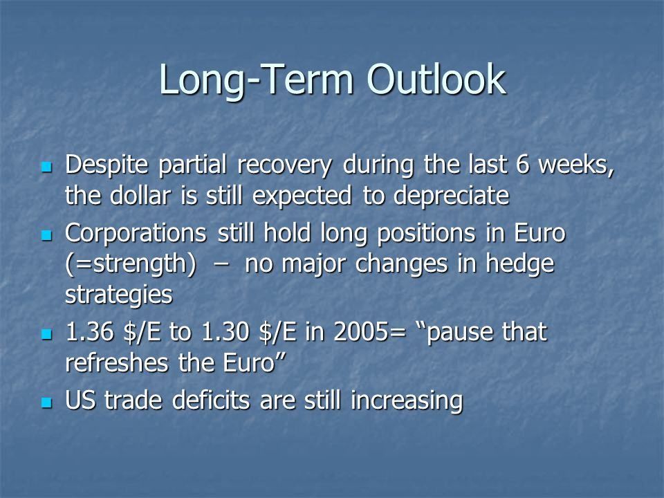 Long-Term Outlook Despite partial recovery during the last 6 weeks, the dollar is still expected to depreciate Despite partial recovery during the last 6 weeks, the dollar is still expected to depreciate Corporations still hold long positions in Euro (=strength) – no major changes in hedge strategies Corporations still hold long positions in Euro (=strength) – no major changes in hedge strategies 1.36 $/E to 1.30 $/E in 2005= pause that refreshes the Euro 1.36 $/E to 1.30 $/E in 2005= pause that refreshes the Euro US trade deficits are still increasing US trade deficits are still increasing