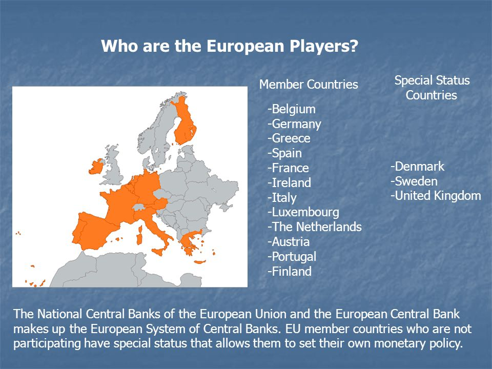 Who are the European Players? -Belgium -Germany -Greece -Spain -France -Ireland -Italy -Luxembourg -The Netherlands -Austria -Portugal -Finland Member
