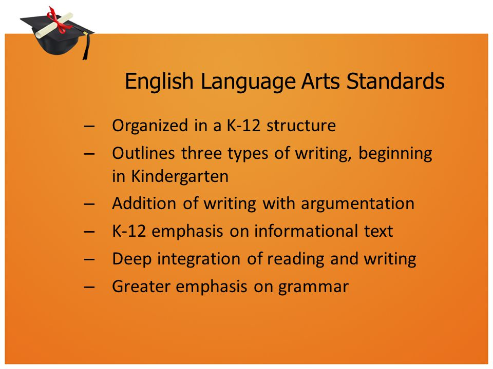 English Language Arts Standards – Organized in a K-12 structure – Outlines three types of writing, beginning in Kindergarten – Addition of writing with argumentation – K-12 emphasis on informational text – Deep integration of reading and writing – Greater emphasis on grammar