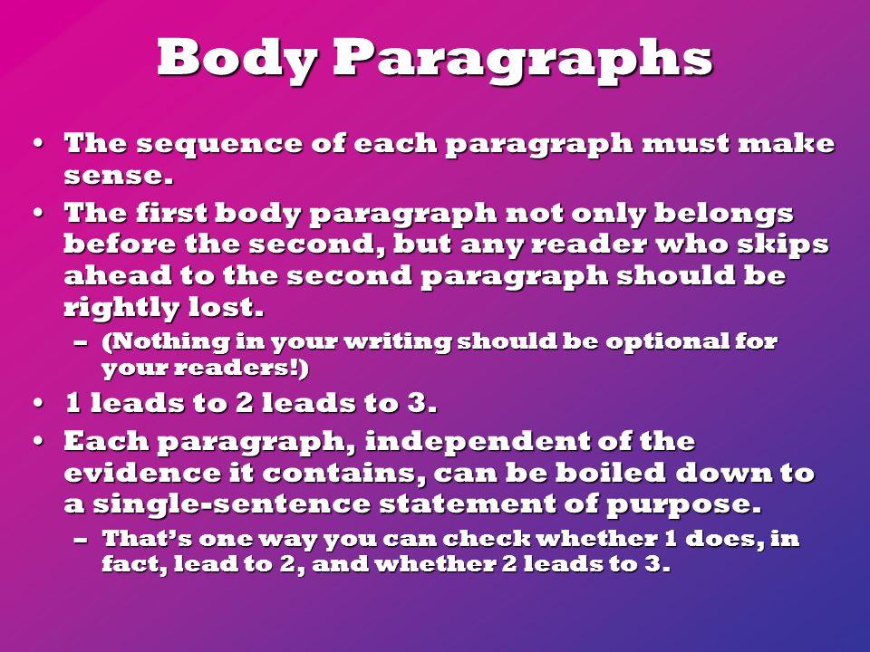 Body Paragraphs The sequence of each paragraph must make sense.The sequence of each paragraph must make sense.