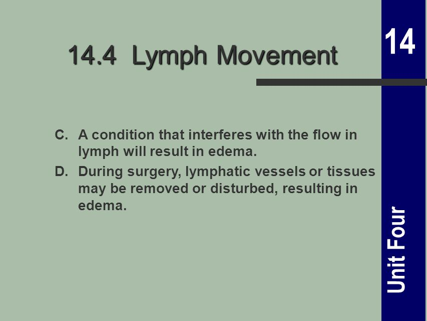 14 Unit Four 14.4 Lymph Movement C.A condition that interferes with the flow in lymph will result in edema.