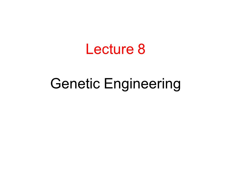 Lecture 8 Genetic Engineering
