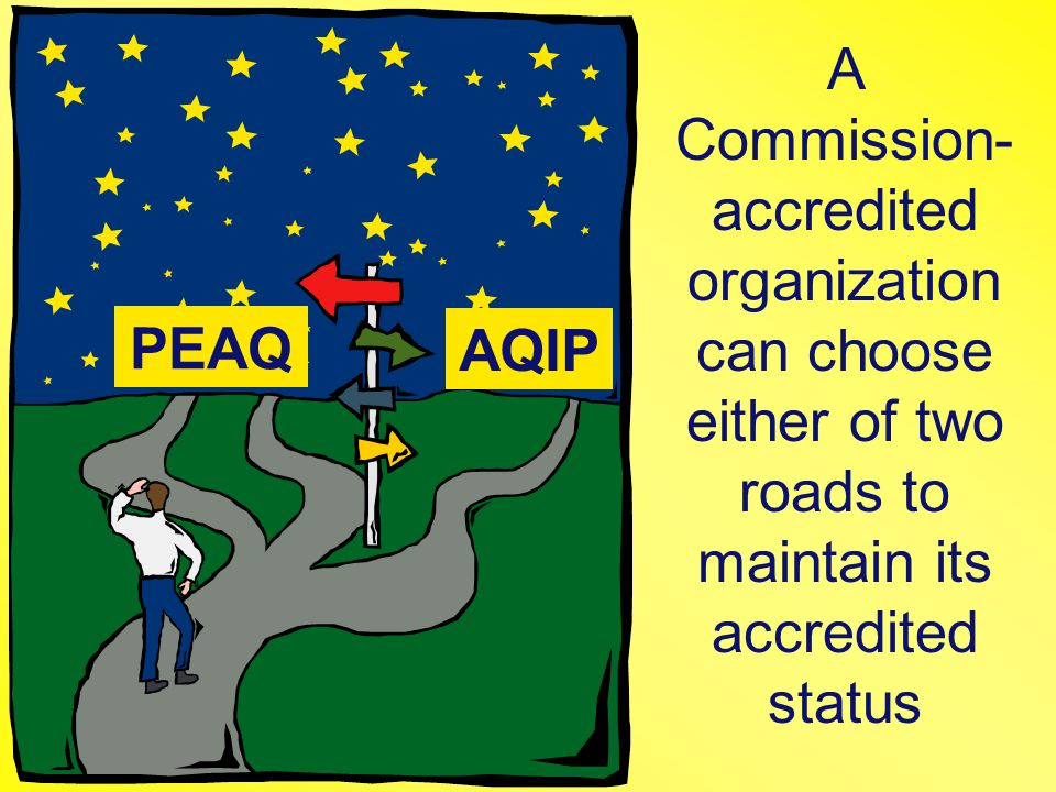 PEAQ AQIP A Commission- accredited organization can choose either of two roads to maintain its accredited status