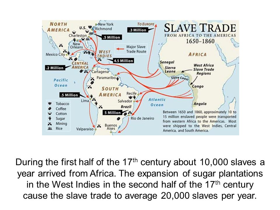 During the first half of the 17 th century about 10,000 slaves a year arrived from Africa. The expansion of sugar plantations in the West Indies in th