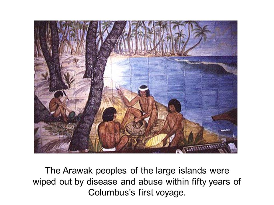 The Arawak peoples of the large islands were wiped out by disease and abuse within fifty years of Columbus's first voyage.