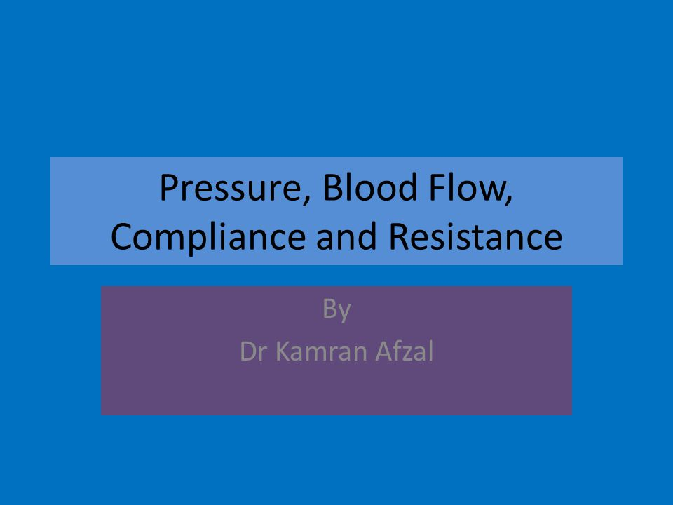 Pressure, Blood Flow, Compliance and Resistance By Dr Kamran Afzal