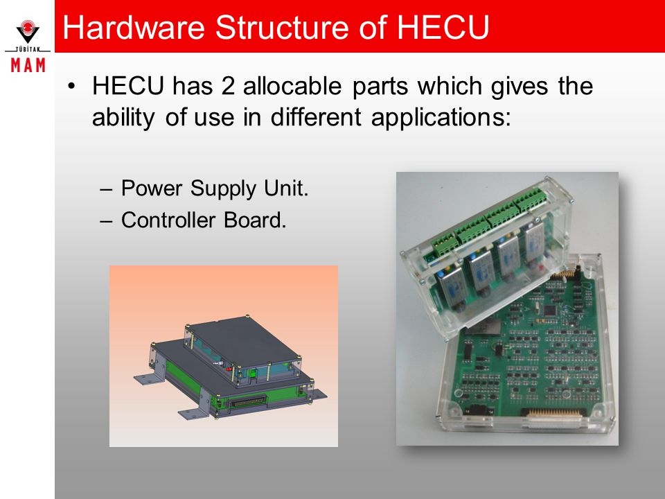 Hardware Structure of HECU HECU has 2 allocable parts which gives the ability of use in different applications: –Power Supply Unit.