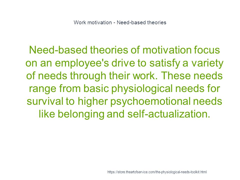Work motivation - Maslow s hierarchy of needs 1 At the most basic level, an employee is motivated to work in order to satisfy basic physiological needs for survival, such as having enough money to purchase food https://store.theartofservice.com/the-physiological-needs-toolkit.html