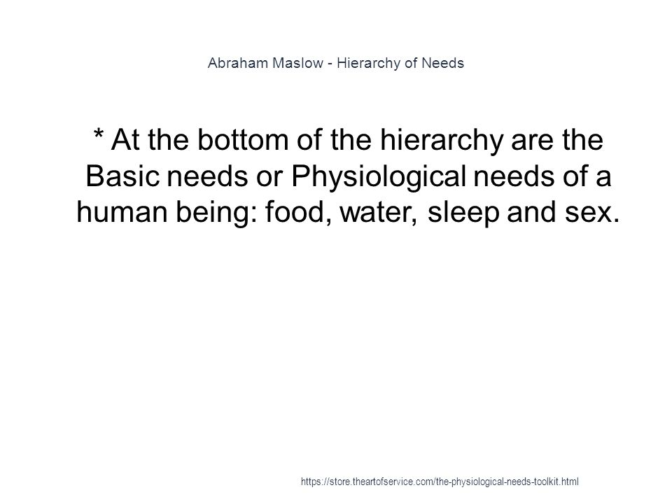 Abraham Maslow - Hierarchy of Needs 1 * At the bottom of the hierarchy are the Basic needs or Physiological needs of a human being: food, water, sleep and sex.