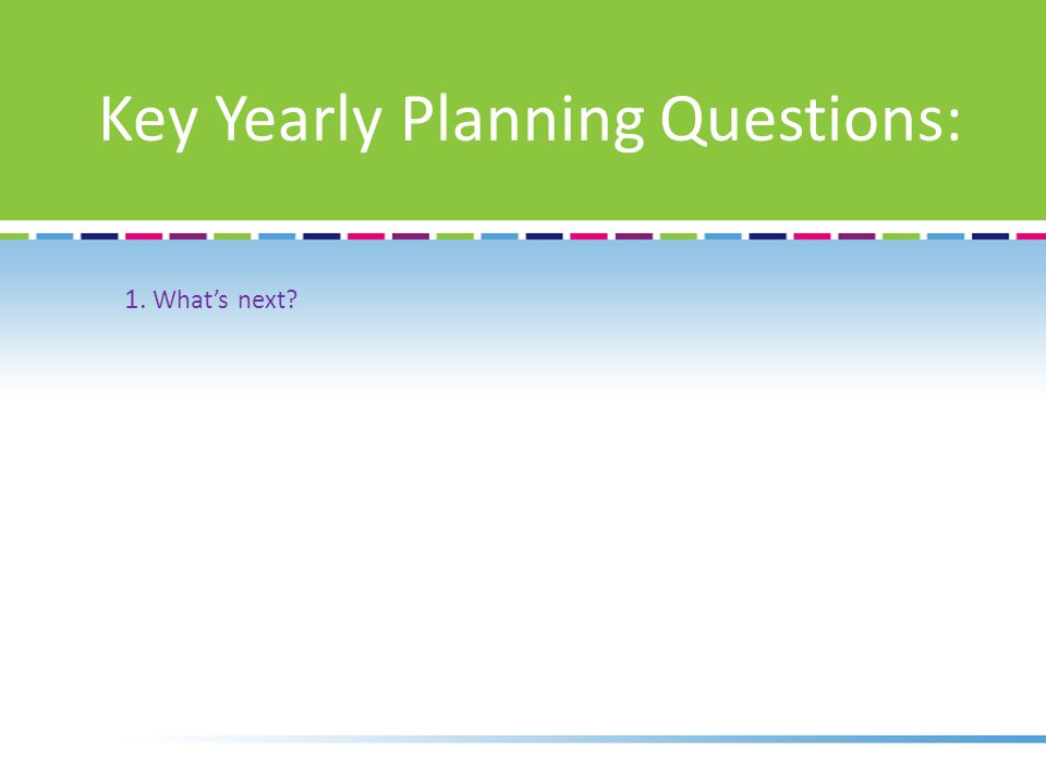 1. What's next Key Yearly Planning Questions: