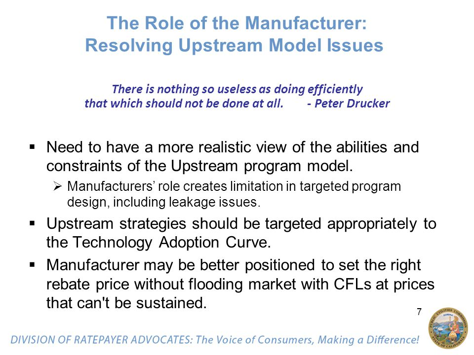 7 The Role of the Manufacturer: Resolving Upstream Model Issues There is nothing so useless as doing efficiently that which should not be done at all.