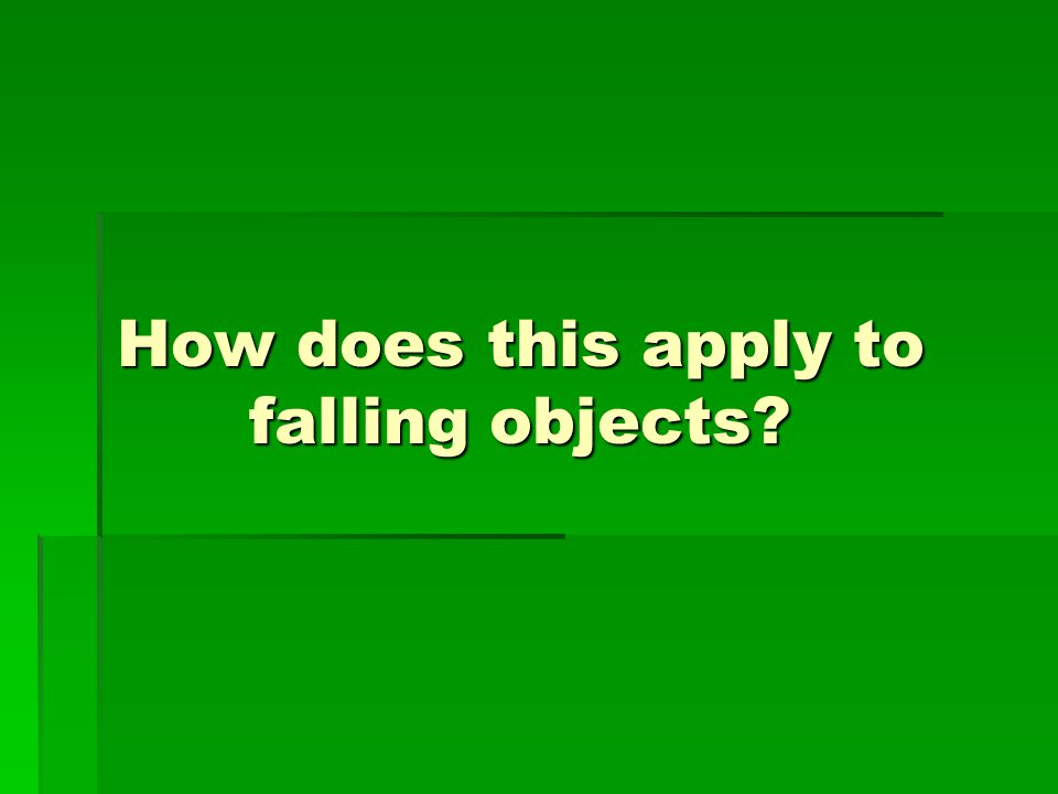 How does this apply to falling objects?