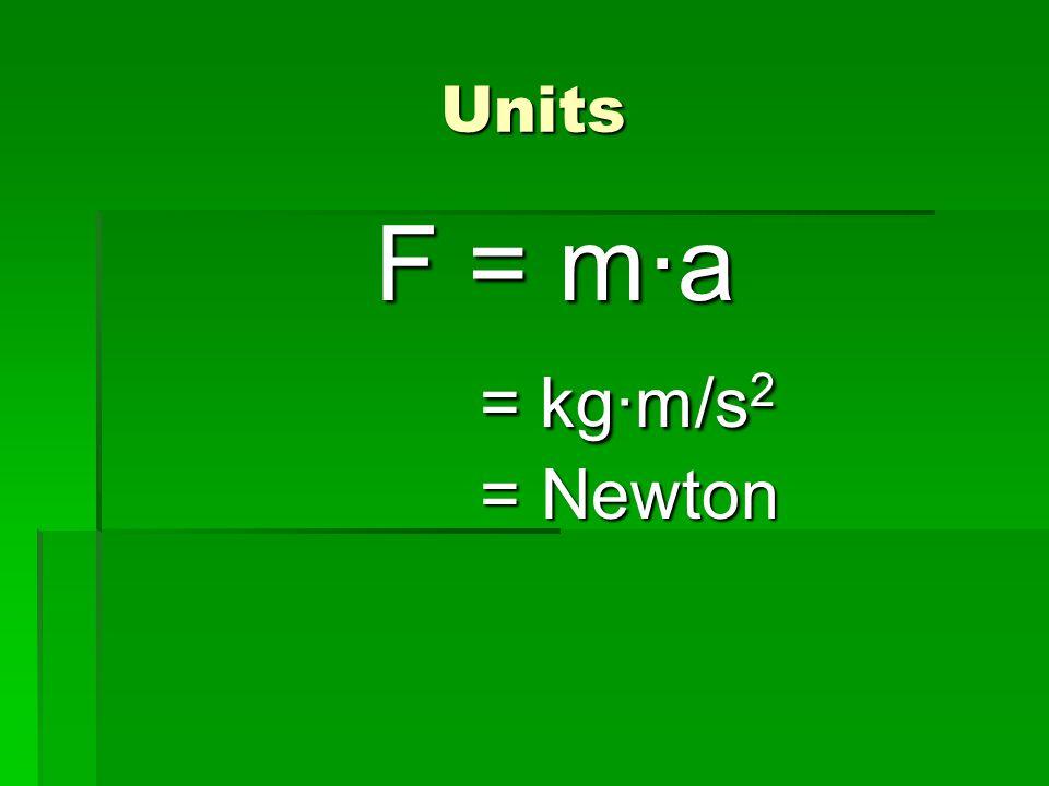 Units F = m·a = kg·m/s 2 = kg·m/s 2 = Newton = Newton