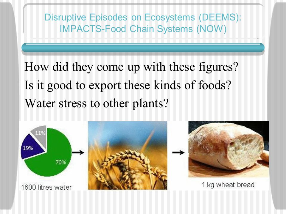Disruptive Episodes on Ecosystems (DEEMS): IMPACTS-Food Chain Systems (NOW) How did they come up with these figures.