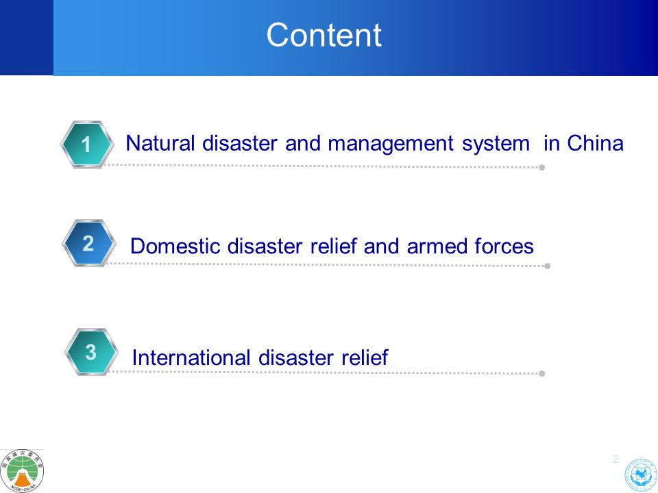 2 Natural disaster and management system in China 1 2 Content Domestic disaster relief and armed forces 3 International disaster relief
