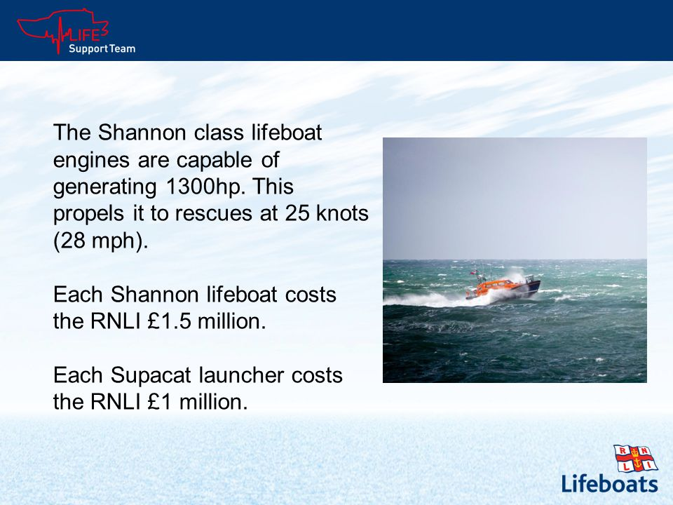 The Shannon class lifeboat engines are capable of generating 1300hp.