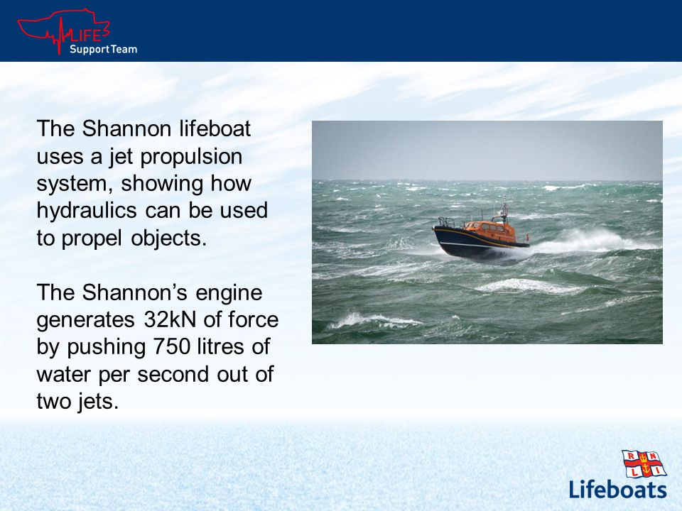 The Shannon lifeboat uses a jet propulsion system, showing how hydraulics can be used to propel objects.